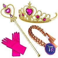 Accesorios de princesa de lujo Guantes Elsa Anna Corona Baguette Girl Carnival Costume