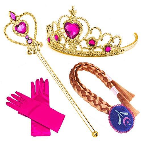 NNDOLL Deluxe Accessori Principessa Elsa Anna Corona Guanti Bacchetta Magica Costume Carnevale Bambine (Viola 4pz)