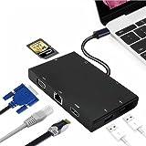 Typ-C-Ladung, Miya USB-C zu Hub 8-in-1 USB-C zu HDMI oder VGA-Display Ausgabekartenleser 2 USB 3.0 Hub-Ports und Gigabit Ethernet Adapterkabel Geeignet für Netzwerkverbindung10 / 100 / 1000M (Schwarz)