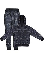 Chándal con estampado militar para niños, sudadera con capucha y pantalones, lote de 2 piezas