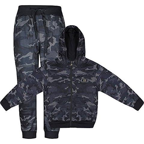 Tuta da ginnastica con stampa mimetica militare per bambini, Felpa con cappuccio e pantaloni, Set da 2 pezzi - Tuta Militare