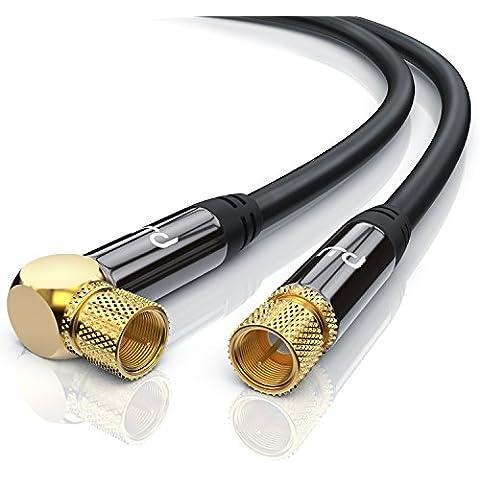Premium 1,5m cavo per antenna / SAT / Cavo per satellite | con 1x Gomito 90° | Cavo coassiale (Koax) | da presa F a presa F| HDTV / Full HD | Corpo in metallo / contatti dorati | schermatura plurima ad alta densità - misura della schermatura: 135 dB / Resistenza: 75 Ohm | nero