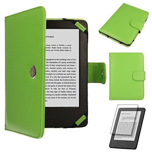 TECHGEAR® Kindle PU Leather Folio Case Cover with Magnetic Clasp for Amazon Kindle eReader with 6 Inch Screen [Book Style] * * With FREE SCREEN GUARD Included * - Kindle Eink-cover