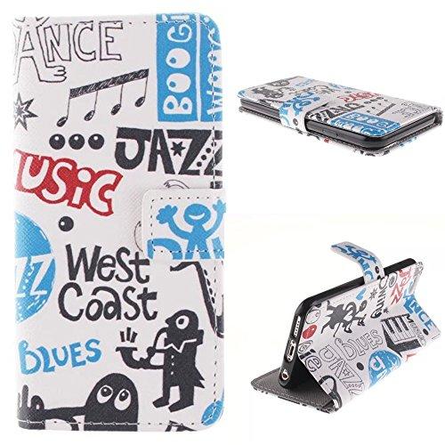 """MCHSHOP(TM) Vielzahl von Mustern Book Style Design Leder Tasche Flip Case Cover Schutzhülle Etui Hülle Schale Für Apple iPhone 6 Case 4.7"""" mit Kartensteckplätze Standfunktion - 1 Touch pen kostenlos ( (Pinao Swing Jusic Jazz Dance Music)"""
