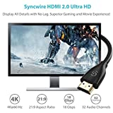 Syncwire HDMI Cable 2M HDMI Lead - Ultra High Speed 18Gbps HDMI 2.0 Cable 4K@60Hz Support Fire TV, Apple TV, Ethernet, Audio Return, Video UHD 2160p, HD 1080p, 3D, Xbox PlayStation PS3 PS4 PC -Black