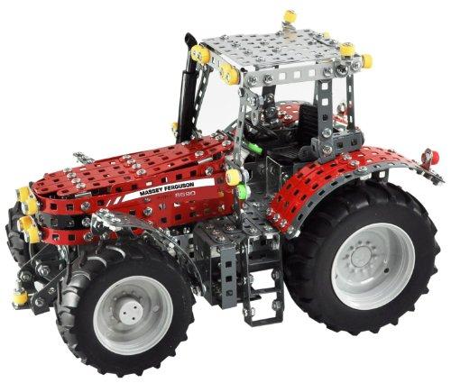 Tronico 10080 - Metallbaukasten Traktor Massey Ferguson 8690, Profi Serie, Maßstab 1:16, 1024-teilig, rot