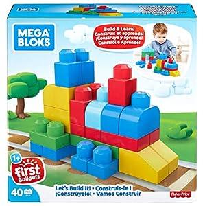 Mega Bloks ¡Constrúyelo! 40 Bloques y Piezas de Construcción, Juguetes Bebés 1 Año (Mattel FFG23)