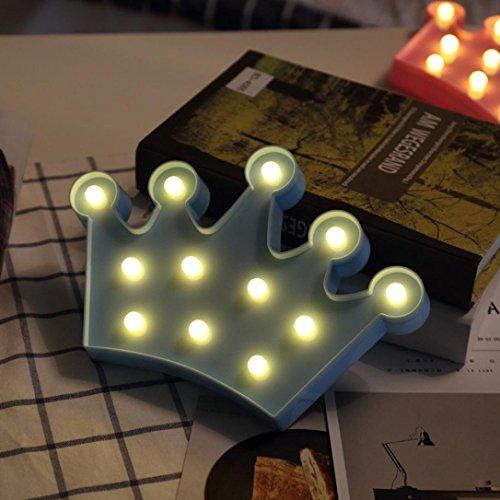 Krone LED Energiesparende Nachtlicht Upxiang Prinzessin / Prinz Stehen Hängende Alphabet Lichter Dekorative Nachtlicht (Blau)