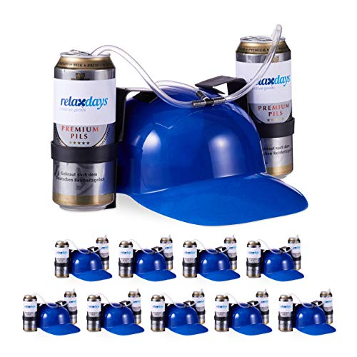 Kostüm Alkohol Gruppe - Relaxdays 10 x Party Trinkhelm, Helm mit Schlauch, für 2 Dosen Bier, Spaßartikel Fasching u. Fußball, lustiger Bierhelm, blau