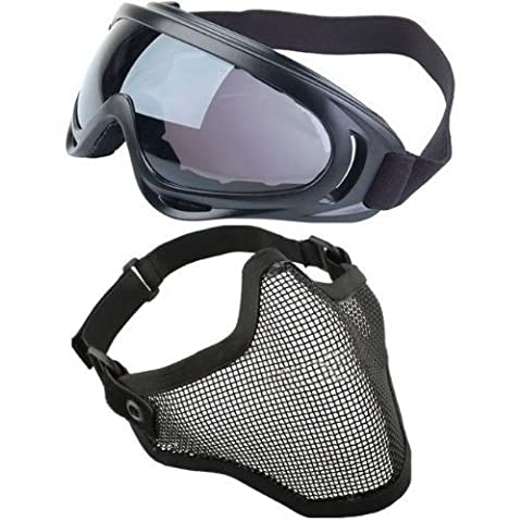 TOOGOO(R) 2 in 1 Protection Steel Mesh Face Mask with X400 UV Safety Goggles Airsoft Paintball,