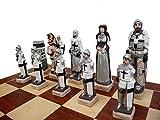GRUNWALD 56cm / 22in Mármol Piedra de Lujo juego de ajedrez en el tablero de madera, medieval Polonia / Europa temáticas, juego clásico