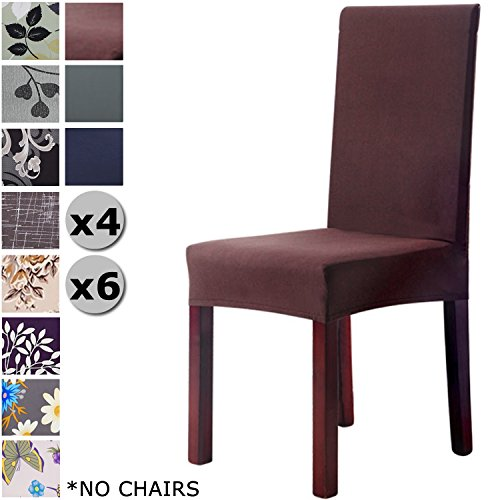 YISUN Modern Stretch Dining Chair Covers Removable Washable Spandex Slipcovers for High Chairs 4/6 PCs Chair Protective Covers (Coffee + Solid Pattern, 4 PCS)