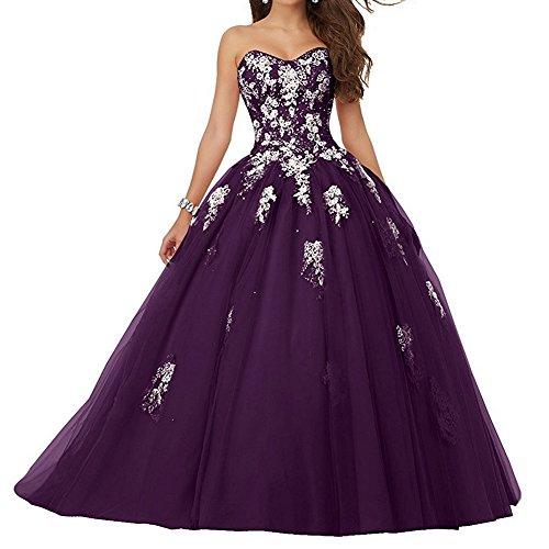 Ballkleider Lang A Linie Tüll Abendkleider Hochzeitskleider Festkleid Quinceanera Kleid Prinzessin...