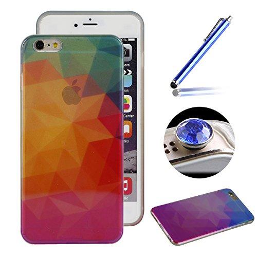Etsue Doux Case Etui pour iPhone 6/6S 4.7 Pouces,Silicone Souple Blu-ray Case Cas Coque de Protection TPU pour iPhone 6/6S 4.7 pouces,Laser Cut Reflect Bleu Light Soft Gel TPU Case pour iPhone 6/6S 4. Blu-ray 4#