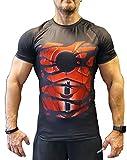 Khroom Hochwertiges Herren Funktionsshirt | Perfekt für Fitness & Gym - Kompressionsshirt im stylischen Helden Design (Ironman schwarz, XL)