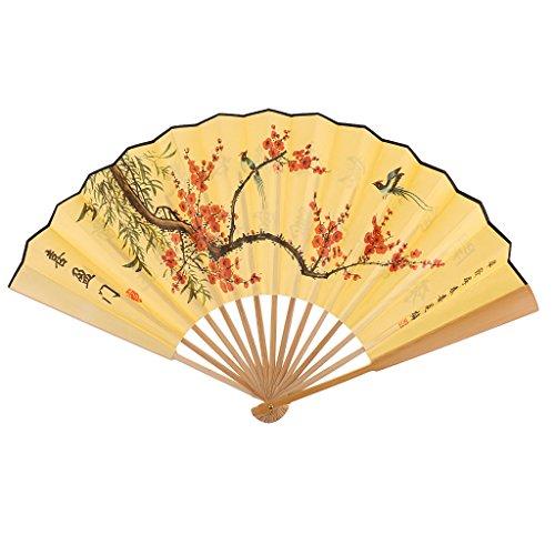 Sharplace Eventail Style Chinois avec Poèmes Anciens et Peintures en Soie Damassé Collection Souvenir Cadeau - # 1