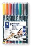 Staedtler Lumocolor 313, Feutres permanents à pointe super fine pour toutes les surfaces, Sans xylène ni toluène, Set de 8 couleurs lumineuses, pointe ogive 0.4 mm, 313 WP8