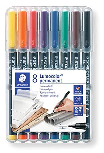 Staedtler Lumocolor 313 WP8 Feinschreiber Universalstift, permanent, Staedtler Box mit 8 Farben 0, 4 mm