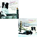 Border Collies 'By The Fence' Luxury Twin Christmas 10 Card Pack