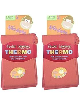 2 Stück Kinder Thermo Leggings mit flauschigem Innenfleece, Vollfrottee, tolle Unifarben, Grössen 110/116 bis...