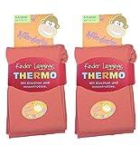 2 Stück Kinder Thermo Leggings mit flauschigem Innenfleece, Grösse 110/116, 2x lachs, Vollfrottee, tolle Unifarben