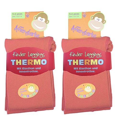 2 Stück Kinder Thermo Leggings mit flauschigem Innenfleece, Grösse 122/128, 2x lachs, Vollfrottee, tolle Unifarben