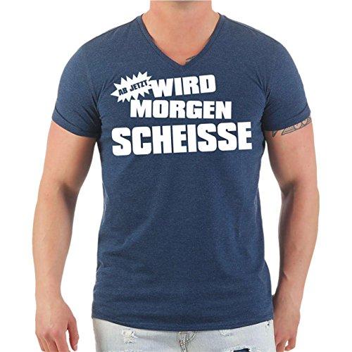 Männer und Herren T-Shirt Malle Ab jetzt wird morgen Scheisse (mit Rückendruck) Größe S - 8XL V-Neck navy meliert
