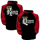 Tomwell King Queen Impression Hoodies Couple Sweatshirt À Capuche Femme Et Homme Manches Longues Pullover Blouse Tops C Noir King EU L