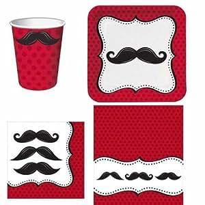 Schnurrbart Madness Party Geschirr Pack für 8
