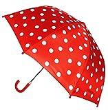 """Kinderschirm / Regenschirm - """" Punkte rot & weiß """" - Ø 74 cm - Schirm für Kinder Stockschirm mit Griff - für Mädchen & Jungen - Polka Dots - Kinderregenschirm / Schirmgriff rund - gepunktet Punkt"""