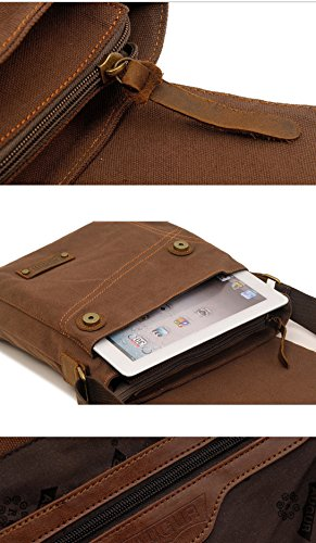 Tibes Segeltuch Schulter Beutel beiläufige Messenger Bag Outdoor Cross-Body-Tasche für Männer Khaki