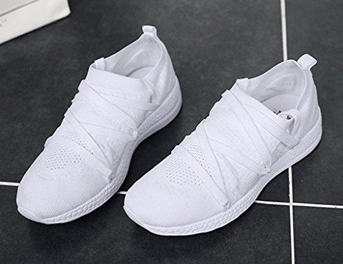 HWF Chaussures femme Chaussures de sport Mesh Mesdames respirant les femmes célibataires chaussures plates chaussures de course à pied ( Couleur : Noir , taille : 35 ) Blanc
