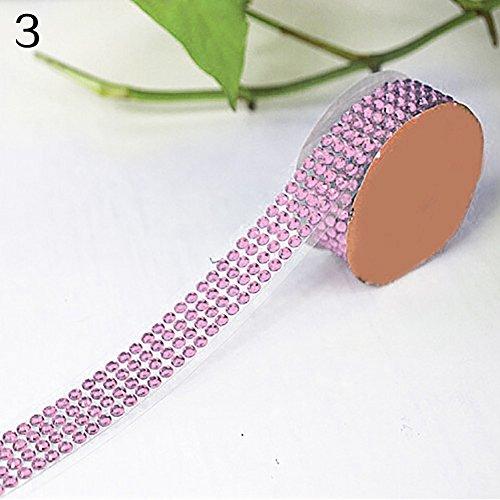 Kuizhiren1 selbstklebendes Acryl-Strass-Klebeband, Selbstklebende Acryl-Strasssteine, zum Aufkleben von Scrapbooking, Basteln Rose