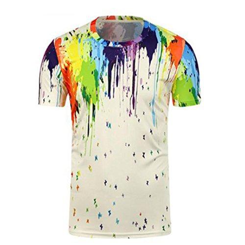 VEMOW Sommer Heißer Verkauf Herren Graffiti 3D Druck Tees Hemd Kurzarm Casual Täglichen Sport T-Shirt Bluse Tops Pullover T-Shirts Shirts(Weiß, EU-44/CN-XL)