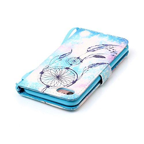 Custodia iphone 7, iphone 7 Cover, iphone 7 Flip Cover, Custodia IPHONE 7 Cover, Cozy Hut Retro Modello di disegno del fumetto Design Con Cinturino da Polso Magnetico Snap-on Book style Internamente S Blu Campanula