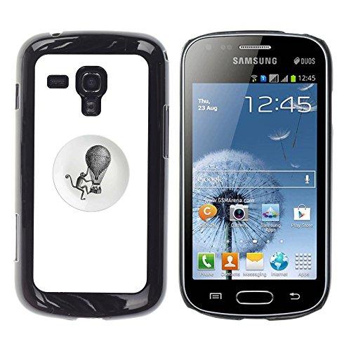 WonderWall Carta Da Parati Immagine Custodia Rigida Protezione Cover Case Per Samsung Galaxy S Duos S7562 - scimmia retro nero bianco mongolfiera