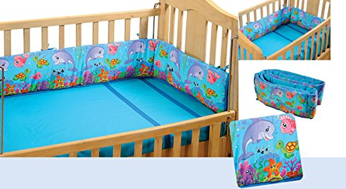 Yuga 100% Baumwolle 4 seitig Sea Creature Cot Stoßstange Wrap Around Breathable Baby's Safe Bed