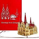 Pop-Up Karte Kölner Dom'Greetings from Cologne' Rot - Köln Karte, Kölner Dom Grußkarte, Cologne Cathedral Card, Kölner Pop Up, 3D Karte, Kölsche Karte, Grußkarten Köln