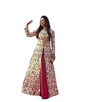 Jay Ambe Fashion Women's Silk Anarkali Dress Material (Dress Materils_Multi-Color_Free Size)