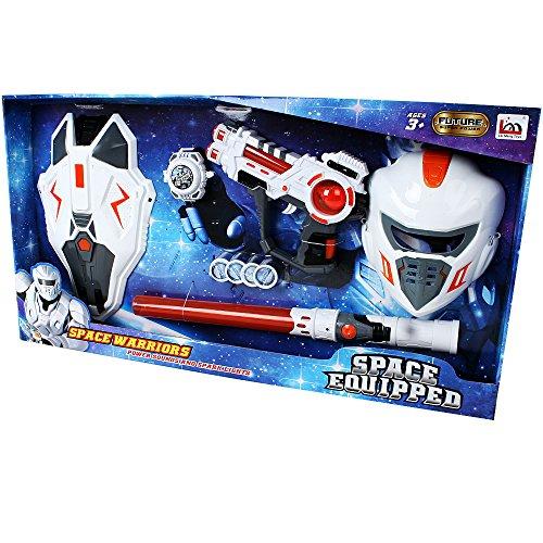 Preisvergleich Produktbild Sternenkrieg Abenteuer Set mit Laserschwert Laserpistole Shooter Maske und Schild sowie Katapult mit Scheiben zum Verkleiden 9-teilig