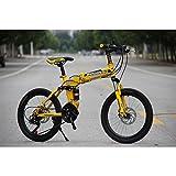 YEARLY Schüler klappräder, Kinderfahrrad Männer und Frauen 21 Geschwindigkeit Typ-scheibenbremsen Erwachsene klappräder MTB Faltrad-Gelb 20inch