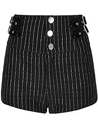 Punk Rave Short Taille Haute Noir à Rayures Blanches avec Boutons et Sangles be0fd16cc01