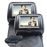 Eincar® 7Inch coches reproductor de DVD reposacabezas Sistema de Video 800 * 480 de la pantalla ancha LCD Monitor Digital Ver automático con control remoto (Negro)