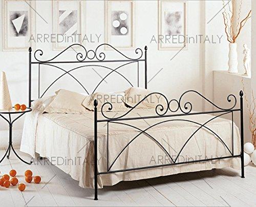 Letto matrimoniale in ferro colore nero grafite con pediera predisposto per rete con piedini 160 x 190 cm. non inclusa - prodotto made in italy