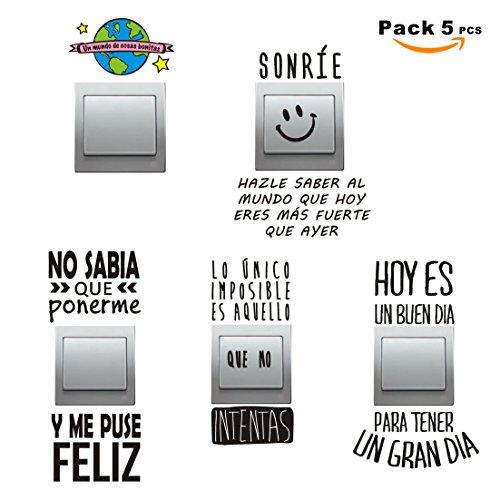 SUPER STICKER - Pack 5 pcs Vinilo decorativo pegatina - para pared, bater, interruptor, puerta. Etc.-frases molonas, ref:pck8a
