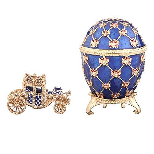 Fabergé-Stil Ei / Schmuckkästchen mit Kutsche & Doppelköpfiger Adler 9,5 cm blau -