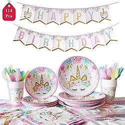 Amycute 114-pcs Gebutstag Party Set Einhorn Party-Set Einweg Pink Mädchen Einhorn Geburtstag Geschirr Kit Teller Becher für 16 Kinder Geburtstagsgeschenk,Kindergeburtstag,Party Deko,Baby Shower