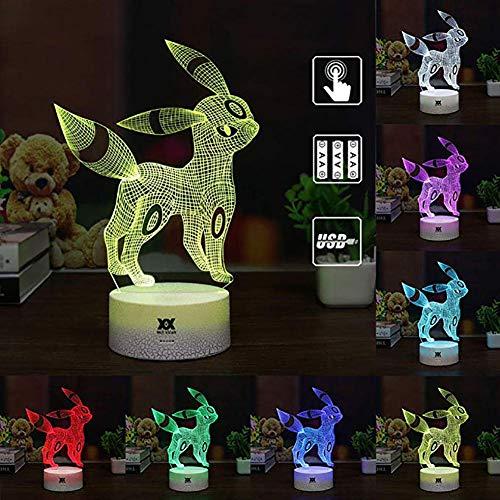 Set Pokémon Moon Ibrahimovic coloré 3D Vision Night Light Pokémon LED Lampe de Table Enfant Tactile USB Baby Sleep Night Light Télécommande