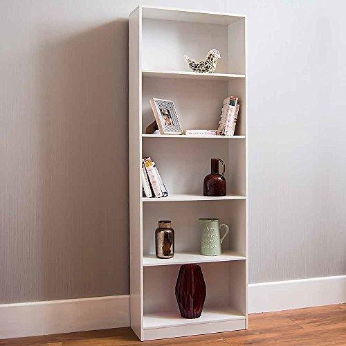 Home Discount Cambridge, Extra groß, mit 5Etagen Bücherregal, Weiß, für Regal, Wohnzimmermöbel