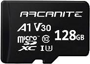 ARCANITE, 128 GB MicroSDXC scheda di memoria con adattatore - UHS-I U3, A1, V30, 4K, C10, Micro SD - AKV30A1128